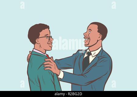 Afrikanische Unternehmer freundliche Begegnung. Comic cartoon Pop Art retro Vektor illustration Zeichnung - Stockfoto