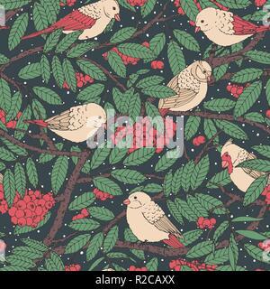 Hand gezeichnet Vektor nahtlose Muster mit Vögeln, Zweige, Blätter und vogelbeere auf schwarz gepunkteten Hintergrund. Schneereiche Winter Dekoration Schmuck für Fabric - Stockfoto