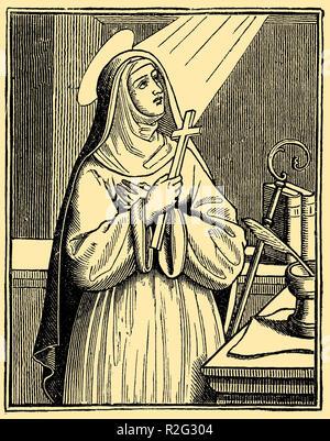 Heilige Hildegard von Bingen (1098-1179), christlicher Mystiker, Deutscher Benediktiner Äbtissin, Visionärin und Universalgelehrten, - Stockfoto