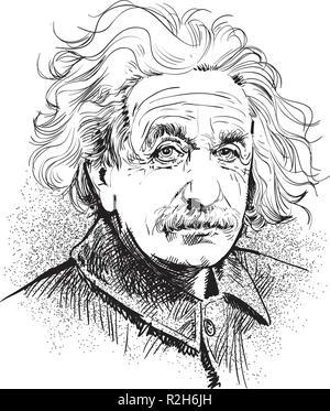 Albert Einstein Portrait im Einklang Art Illustration. Er (1879-1955) war ein Deutscher - geborener theoretischer Physiker, der die Relativitätstheorie entwickelt. - Stockfoto
