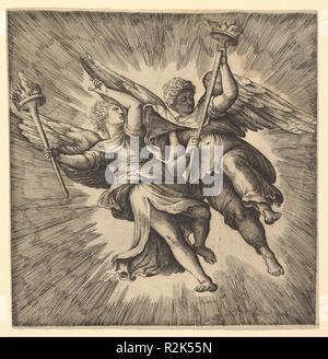 Zwei Engel oder geflügelten Genien mit Fackeln. Artist: Battista Franco (Italienisch, Venedig Ca. 1510-1561 Venedig). Maße: Blatt: 77 3/16 x 75 9/16 in. (196 x 192 cm) auf Plattenkante geschnitten. Museum: Metropolitan Museum of Art, New York, USA. - Stockfoto