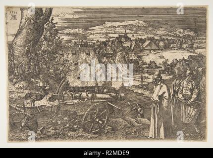 Landschaft mit einer Kanone. Künstler: Albrecht Dürer (Deutsch, Nürnberg 1471-1528 Nürnberg). Maße: Blatt: 8 3/4 x 12 15/16 in. (22,2 × 32,8 cm). Datum: 1518. Museum: Metropolitan Museum of Art, New York, USA. - Stockfoto