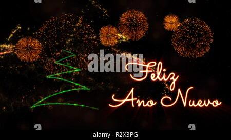 Frohes Neues Jahr Text in Spanisch 'Feliz Ano Nuevo' über Pine Tree mit Sekt und Feuerwerk auf einem verschneiten Hintergrund - Stockfoto