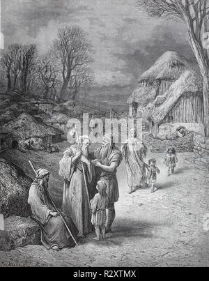 Digital verbesserte Reproduktion, Gastfreundschaft für Pilger in Jerusalem im 11. Jahrhundert vor dem ersten Kreuzzug. Gastlichkeit für Pilger, von einer ursprünglichen Drucken im 19. Jahrhundert veröffentlicht. - Stockfoto