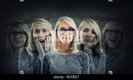 Junge Frau leiden split Emotionen in fünf verschiedenen inneren Persönlichkeiten. Multipolare psychischen Störung Konzept. Schizophrenie psychiatrische diseas - Stockfoto