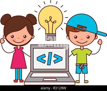 Junge und Mädchen Notebook Lampe Kreativität - Stockfoto