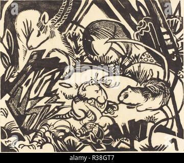 Tier Legende (Tierlegende). Stand: 1912. Medium: Holzschnitt auf Japanpapier. Museum: Nationalgalerie, Washington DC. Autor: Franz Marc. - Stockfoto