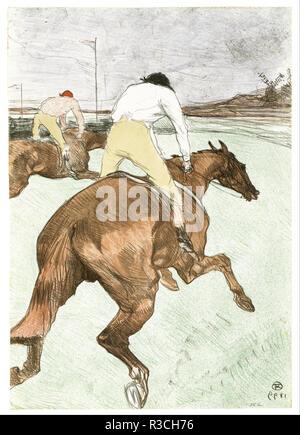 Der Jockey. Datum/Zeitraum: 1899. Drucken. Lithographie in Farben Lithographie in Farben. Höhe: 51.80 mm (2,03 in); Breite: 36.20 mm (1.42 in). Autor: Henri de Toulouse-Lautrec. - Stockfoto