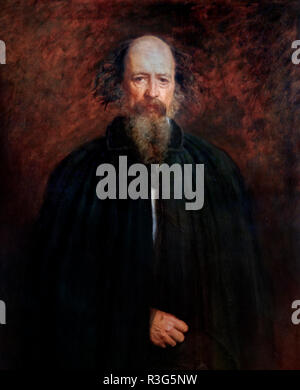 Alfred Tennyson. Porträt des Dichters Alfred Lord Tennyson (1809-1892) von John Everett Millais (1829-1896), Öl auf Leinwand, 1881 - Stockfoto