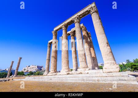 Athen, Griechenland - Tempel des Olympischen Zeus, das größte in der antiken griechischen Zivilisation, Olympieion. - Stockfoto