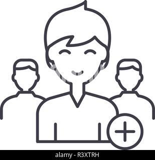 Neuen Benutzer Symbol Leitung Konzept hinzufügen. Neuen Benutzer Vector Linear Illustration, Symbol, Zeichen - Stockfoto