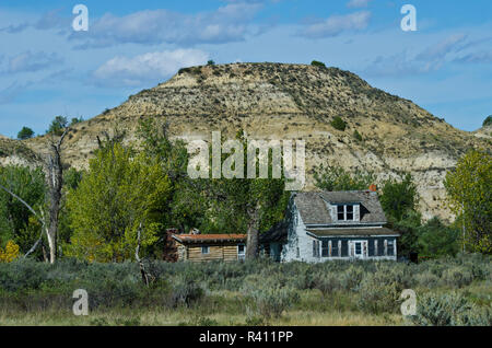 USA, North Dakota, Medora. Theodore Roosevelt National Park, South Unit, friedlichen Tal Ranch - Stockfoto