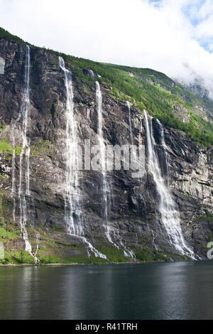 Gerainger Fjord, Norwegen, Sieben Schwestern fällt, Wasserfälle, - Stockfoto