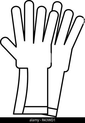 Gummihandschuhe Symbol. Überblick Abbildung: Gummihandschuhe vektor Symbol für Web Design auf weißem Hintergrund - Stockfoto