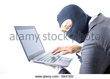 Hacker, Geschäftsmann, tragen schwarze Maske stehlen Informationen - Stockfoto