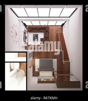 Interior 3D-Rendering eines modernen kleinen Lofts - Stockfoto