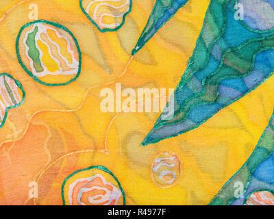 Gelbe und grüne abstraktes Ornament auf Seide Batik