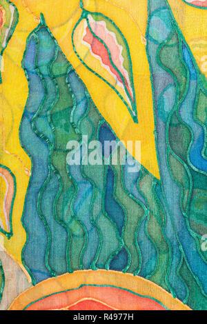 Gelbe und grüne abstraktes Muster auf Seide Batik