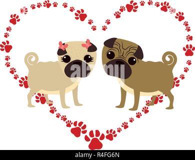 Niedliche Mops hunde Paar in Herzen Pfoten Vector Illustration Design - Stockfoto