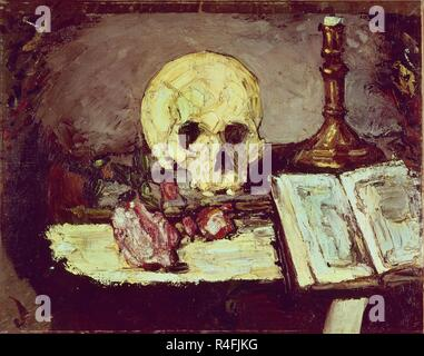 NATURALEZA MUERTA - CRANEO Y CANDELABRO - 1865/67 - 48 x 63. Autor: Cezanne, Paul. Standort: Private Collection. Zürich. Die Schweiz. - Stockfoto