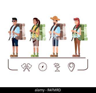 Gruppe von Touristen und Symbole Vector Illustration Design - Stockfoto
