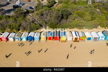 Luftaufnahme von Brighton Baden Boxen in Melbourne - Stockfoto