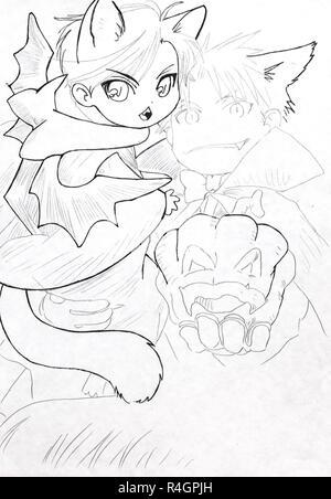 Zeichnung Von Einem Lächelnden Rote Cartoon Farbe Pinsel Charakter