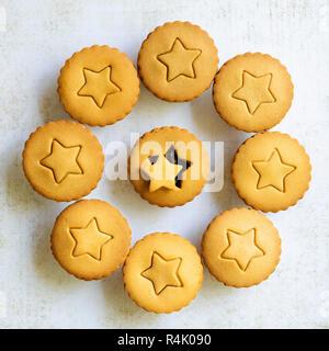 Lebkuchen Obstkuchen mit einem Stern auf der Konditorei Deckel vor den Mund. - Stockfoto