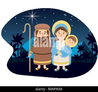 weihnachten-krippe mit dem jesuskind in der krippe in silhouette, drei weisen oder könige und