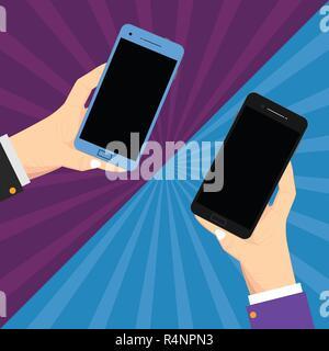 Design Business Konzept leere Vorlage kopieren Raum Text für Anzeige Web site isoliert. Zwei Hu-Analyse Hände Jeweils leer Smartphone Mobile auf Sunburst - Stockfoto