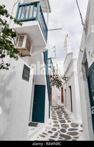 Traditionellen Weißen Gasse in Mykonos - Stockfoto