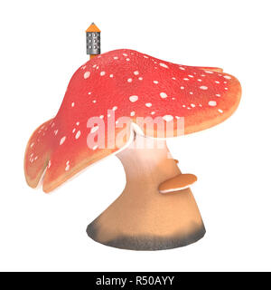 Fantasy cartoon big Pilz mit einem Rohr auf einem isolierten weißen Hintergrund, 3D-Darstellung - Stockfoto