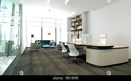 3d Render Arbeiten Buro Innen Stockfoto Bild 226836561 Alamy
