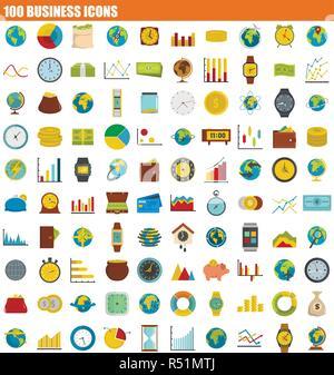 100 Business Icon Set. Flache Satz von 100 Business Vector Icons für Web Design - Stockfoto