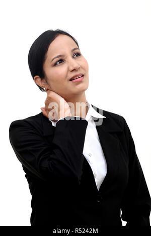 Business Frau mit Nackenschmerzen - Stockfoto