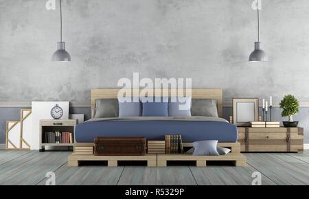 Schlafzimmer im rustikalen Stil - Stockfoto