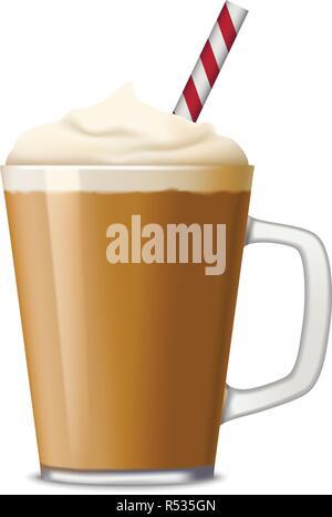 Tasse Eis Kaffee Symbol. Realistische Darstellung der Tasse Eis Kaffee vektor Symbol für Web Design auf weißem Hintergrund - Stockfoto
