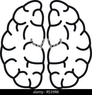 Gehirn Neuronen Symbol. Umrisse Gehirn Neuronen vektor Symbol für Web Design auf weißem Hintergrund - Stockfoto