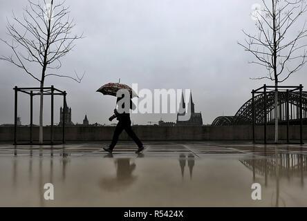 29. November 2018, Nordrhein-Westfalen, Köln: Eine Frau geht mit ihrem Schirm im Regen an den Ufern des Rheins. Foto: Oliver Berg/dpa