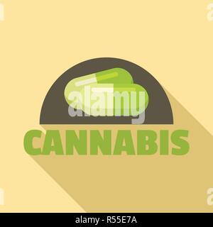 Cannabis Pille Logo. Flache Darstellung von Cannabis Pille vektor Logo für Web Design - Stockfoto
