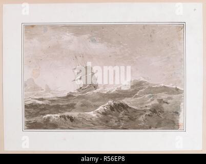 Zeichnung von einem Europäischen Schiff unter Segeln in schwerer See; wahrscheinlich nicht eines der Schiffe des Kochen. Während der Kapitän Cook's Dritte Reise gemacht. Zeichnungen von John Webber ausgeführt, während die dritte Reise von Captain Cook, 1776-1780. Circa 1776-1780. Quelle: Hinzufügen. 17277, Nr. 4. Sprache: Englisch. - Stockfoto