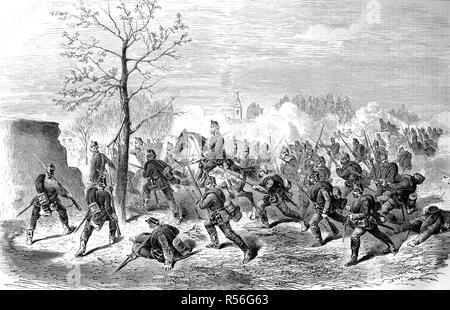 Angriff der Preußischen wachen auf das Dorf Le Bourget am 30. Oktober, den deutsch-französischen Krieg 1870/71, Holzschnitt, Frankreich Stockfoto