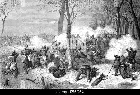 Verteidigung von Le Bourget gegen die Schlacht um die französische Marine in der Schlacht am 21. Dezember, den deutsch-französischen Krieg 1870/71, Holzschnitt Stockfoto