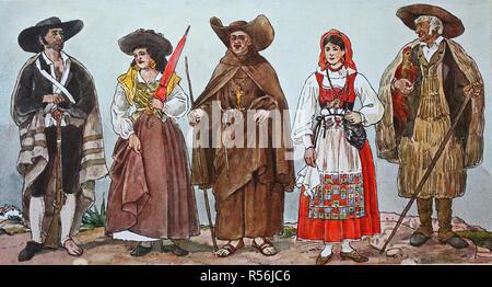 Mode, Kleidung in Portugal im 19. Jahrhundert, ein ...