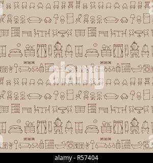 Hand gezeichnete Skizze Möbel Muster - Stockfoto
