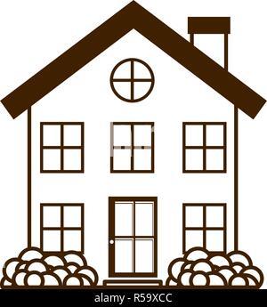 Haus mit Garten isolierte Symbol - Stockfoto