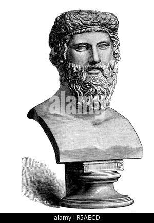 Büste von Plato, 428/427 v. Chr. Chr., 348/347 v. Chr. V. Chr., war eine antike griechische Philosoph, Holzschnitt, Griechenland - Stockfoto