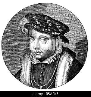 Franz II., den 19. Januar 1544, 5. Dezember 1560, König von Frankreich, 1880, Holzschnitt, Frankreich - Stockfoto