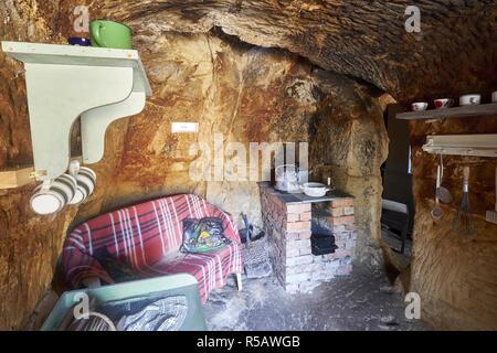 Küche, Langensteiner Höhlenwohnungen, Langenstein/Halberstadt, Lkr. Harz, Sachsen-Anhalt, Deutschland