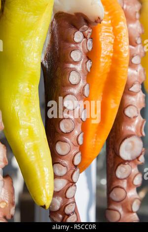 Octopus (ohtapodi) trocknen außerhalb ein Restaurant in Fira, Santorini (Thira), Kykladen, Griechenland - Stockfoto